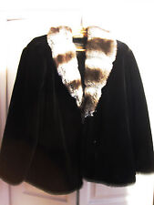 Women's Pamela McCoy Faux Fur Coat  - Beautiful Black Size Large Made in USA