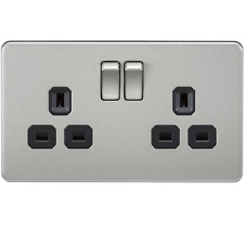 1 X SF9000BC-Knighstbridge 13A 2G DP Switched Screwless Socket - Brushed Chrome