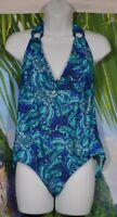 JACLYN SMITH Blue Green Black Silver Patterned Halter One Piece Swimsuit 14