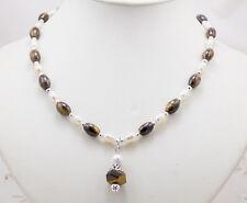 Collana Donna con Perle Occhio di Tigre Naturale Argento Gioielli Artigianali