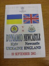 18/09/2002 Dynamo Kiev v Newcastle United [Champions League] (Pirate: 4 Pages, K