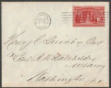 #241 ON COVER 1893 WASHINGTON DC CV $2000.00 HV590