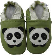 carozoo panda green 6-12m soft sole leather baby shoes
