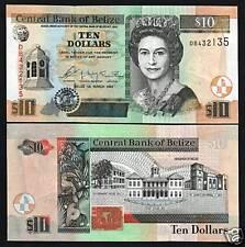 BELIZE 10 DOLLARS P68 2003 QUEEN ELEPHANT BIRD FISH UNC CARIBBEAN GB UK BANKNOTE
