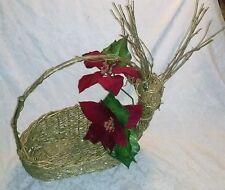 """22"""" LARGE Christmas Gold Glitter Reindeer Twig Wick Gift Basket Velvet Poinsetta"""
