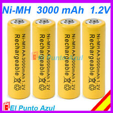 4 Pilas AA Recargables 3000mAh - Amarillo - 1,2 voltios Batteries Yellow NiMh