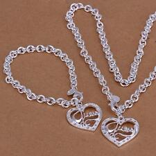 Halskette Armband Set Silber pl.925 Medaillon mit Herzen herz Anhänger s63a