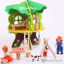NEW KIDS Wooden Pretended PLAY Tree House w/ DOLLS & Furniture PUPPY 31cm H GIFT