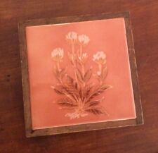 "SALE Vintage Italian Tile Santenno 6"" Flowers Leaves Coral Color Framed Trivet"