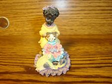 Vintage Black African American Resin Figurine Young Black Girl Playing w/Dolls