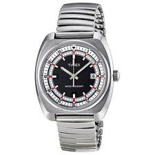 Timex T2N392 Men's Silver Steel Bracelet With Black Analog Dial Watch NWT