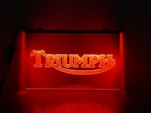 Triumph Motorcycle Sign Light Red LED Neon Light Home Bar Mancave Bedroom Light