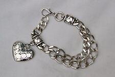 New Brighton Fashionista Silver Crystal Heart Charm Double Chain Custom Bracelet