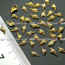 50 Pcs 3D Nail Art Decoration Gold Conch Alloy Jewelry Glitter Rhinestone EG-174