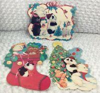 Vintage Eureka Christmas Lot Of 3 Die Cut Decorations Personality Bears 16″