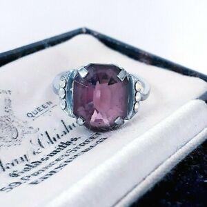VINTAGE ART DECO GEOMETRIC GLASS AMETHYST & AURORA BOREALIS SIZE M 1/2 RING