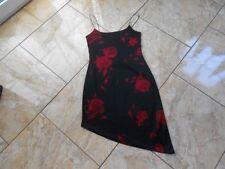 EB349 Pimkie Sommer Stretch Spagettiträger Blumen Kleid Kleid S Schwarz Rot Gebl