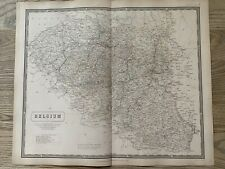 1844 BELGIUM LARGE HAND COLOURED ANTIQUE MAP FROM JOHNSTON'S NATIONAL ATLAS