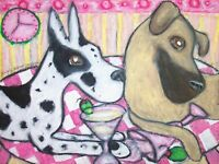 Great Dane Martini collectible ACEO PRINT Art Miniature 2.5X3.5 by KSams Signed