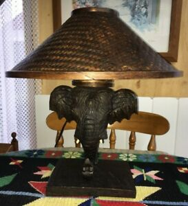 ANTIQUE/VINTAGE FRENCH WOODEN ELEPHANT TABLE LAMP. WITH WOVEN SHADE
