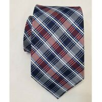 Nautica Silk Tie Red Blue White Plaid Checkered Americana Preppy Teacher Office