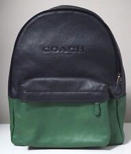 Coach Campus Leather Colorblock Grass/Midnight Large Backpack F72159 Retail $550