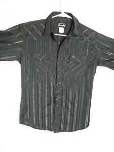 vintage wrangler men's metallic striped snap button up shirt medium