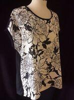 Womens Ladies Cap Sleeve Summer Black & White Floral Printed Blouse Top