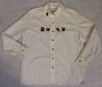 Foxcroft Womens Thanksgiving Shirt Sz 14 Embroidered Pumpkin Motif Button Down