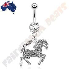 316L Surgical Steel CZ Gem Belly Ring with Paved CZ Gem Horse Dangle