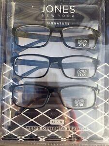 3 Pack +1.50 Jones New York Premium Reading Glasses Multi-Color Designer Readers