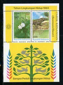 Indonesia Scott #1545 MNH S/S Flora/Flowers Orchids Fauna CV$5+