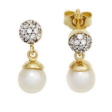 Damen Ohrstecker 333 Gelbgold bicolor 2 Süßwasser Perlen mit Zirkonia Ohrringe