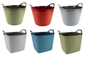 Round/Square Flexi-Tub Bucket Garden/Home Storage 15L - 40L Hardwearing Plastic