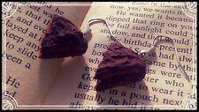 ** Chocolate Cake Slice earrings - handmade stocking filler fimo  **