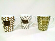 Godiva Belgium 1926 Coffee Mugs White with Gold Patterns 2014 and 2015 Lot of 3