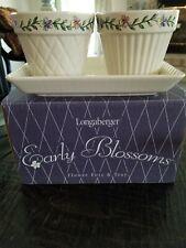Longaberger Pottery Early Blossoms Flower Pots & Tray W/Box
