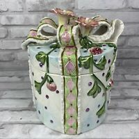Gift Wrapped Present Bow Round Ceramic Cookie Jar International Art Handpainted