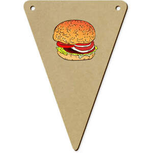 5 x 140mm 'Burger' Wooden Bunting Flags (BN00052302)
