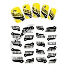 20 stickers-decals Nail Art water transfer- Adesivi Per Unghie Glitter Argento !