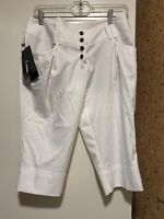 NWT $70 Women White ADIDAS cropped capri climalite athletic pants lightweight, 4