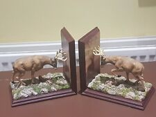 Beautiful Pair Of Rare Bradford Exchange Stag Bookends