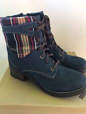 Dromedaris Women's Kara Tartan Boots Navy (Size 11.5- 12)