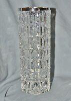 Vase Pressglas Sixties Seventies,Rand Silber 800,Emil Hermann Waldstetten, 22 cm