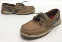 Sperry Top Sider Womens Brown Leather Lace Up Two Eye Boat Shoes Size 8M