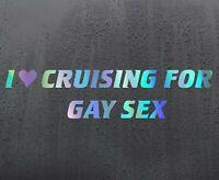 CRUISING GAY Chrome holographic vinyl sticker car decal JDM DUB bumper rude