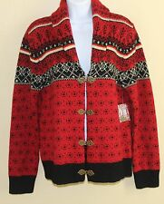 New SUSAN BRISTOL Red Fair-Isle Wool Nordic Shawl Cardigan Sweater Sz M