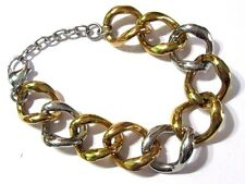 Wide Link Bracelet Silver And Gold Tone Stylish Fashion