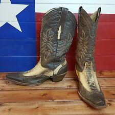 Women's Corral Vintage Chocolate Leather & Ostrich Leg Western Cowboy Boots 8.5M
