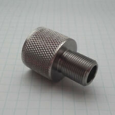 Thread adapter F 1/2x20 UNF to M 1/2x28 UNEF stainless steel knurled OD 22 mm